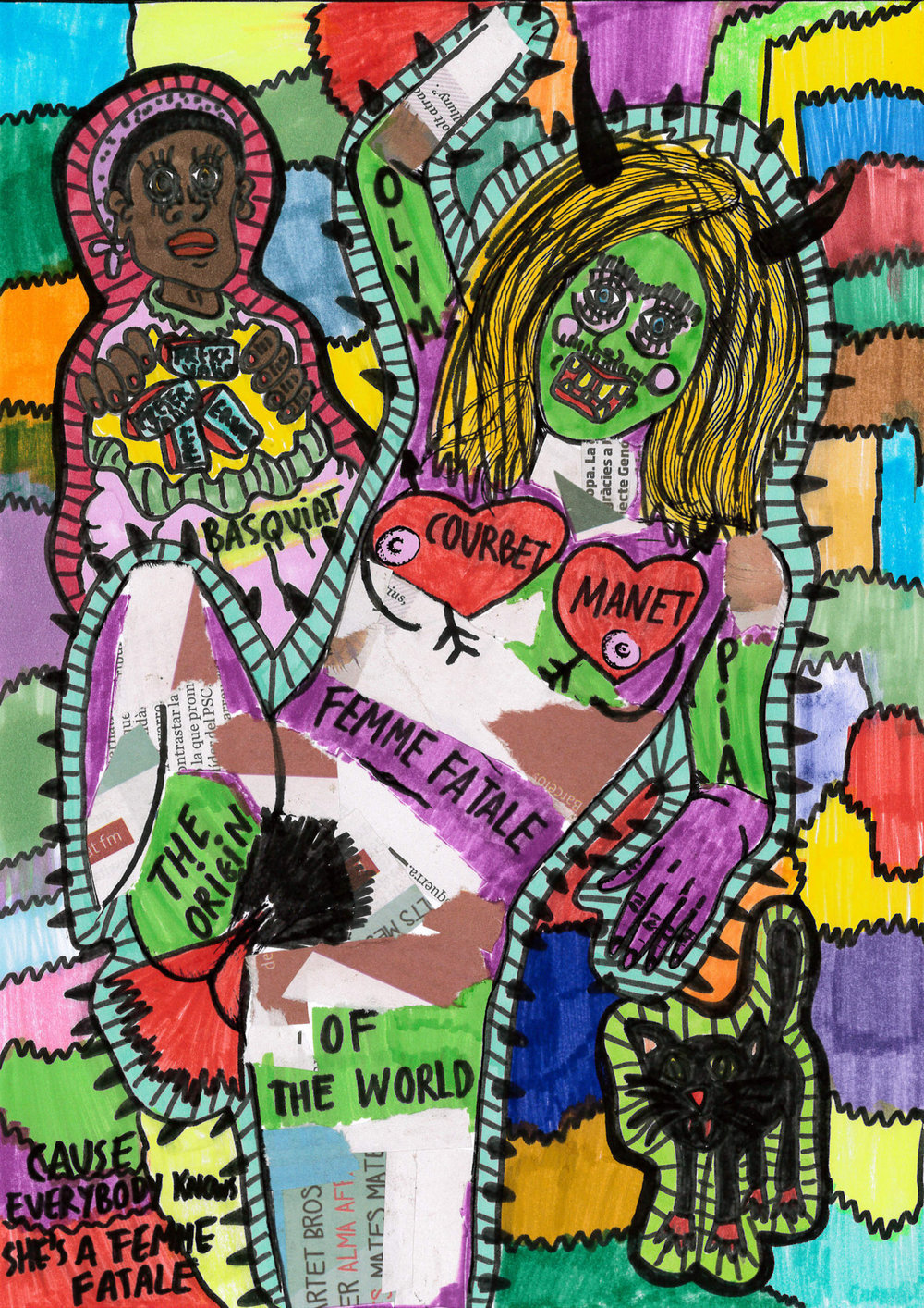 """Tatto the girl"" , 2012   Marker on paper, 21 x 29.7 cm"