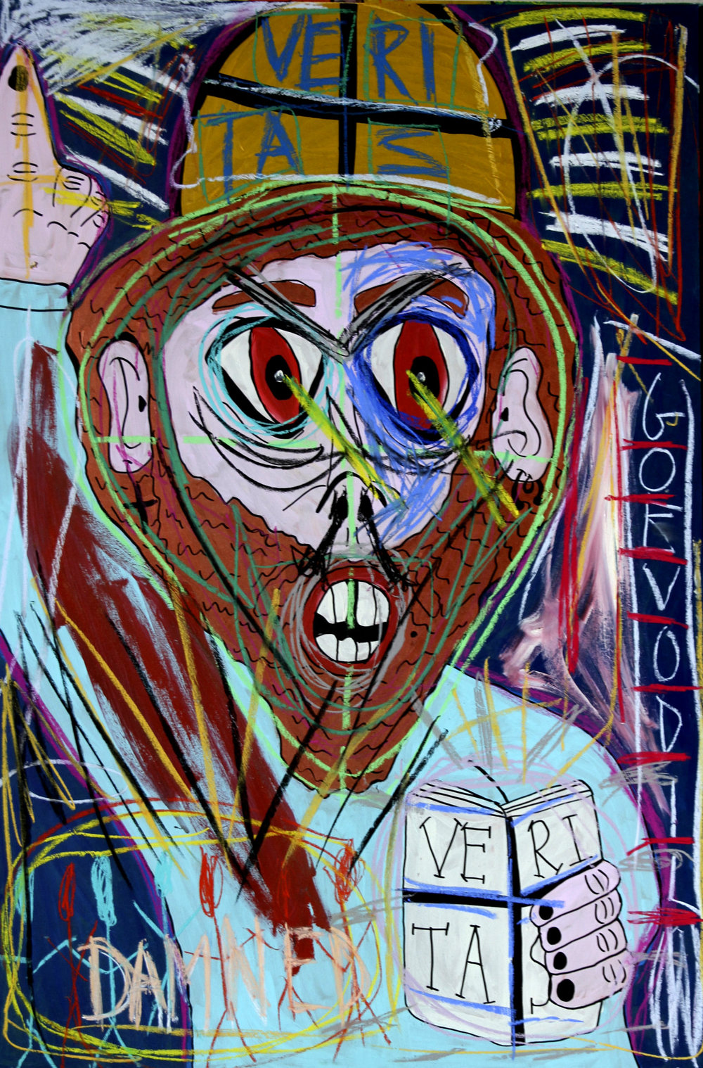"""Myself as Pantocrator"" , 2013   Acrylic paint and pastel on wood, 90 x 130 cm"