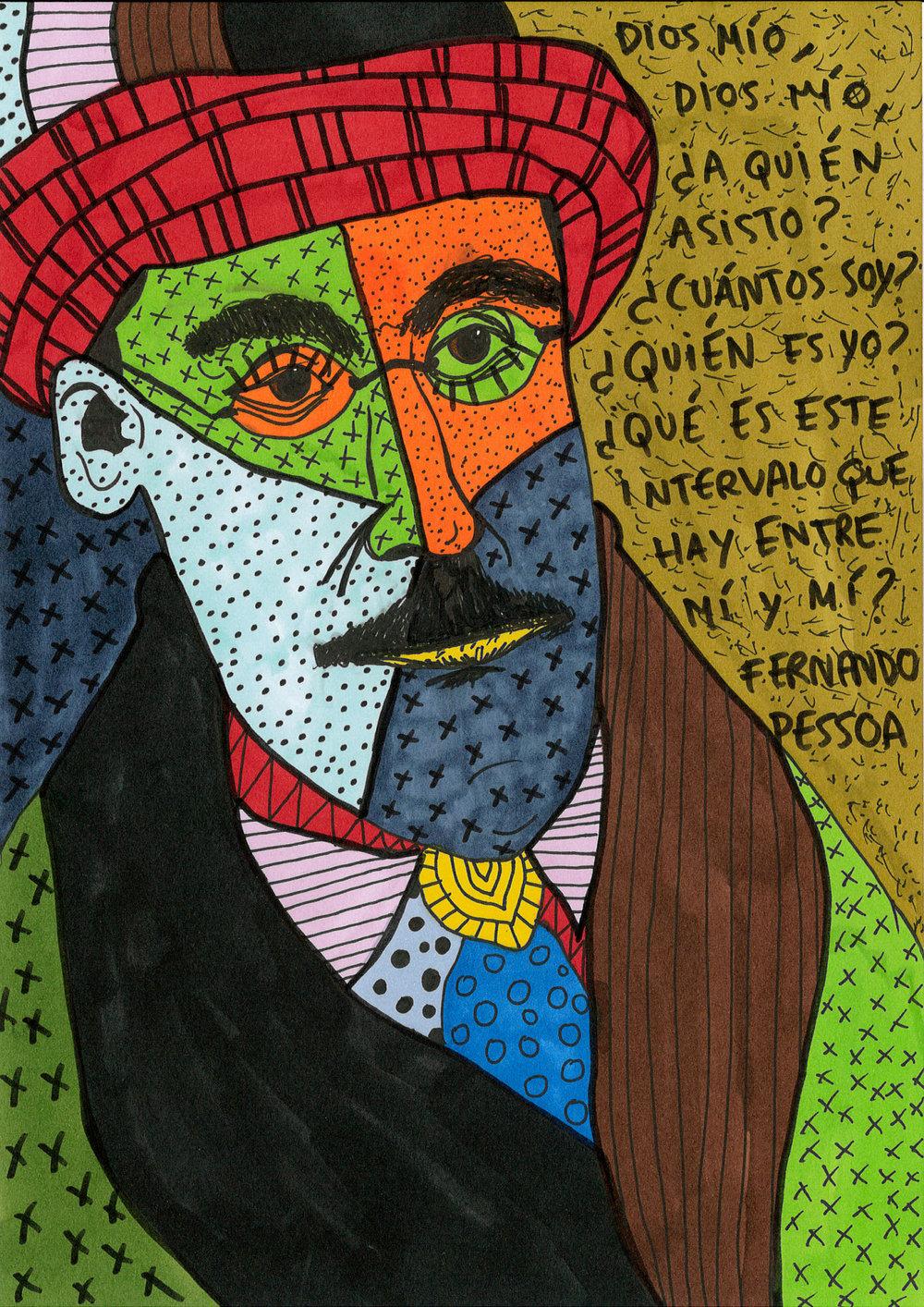 """Fernando Pessoa"" , 2013   Marker and pen on paper, 21 x 29.7 cm"