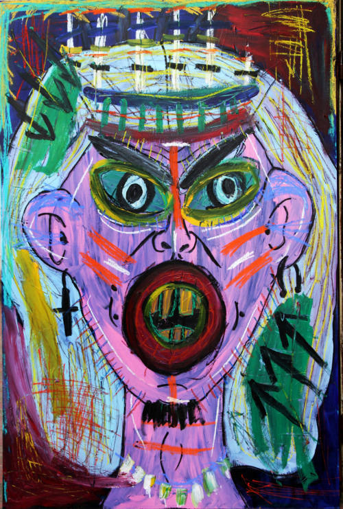 """Self-portrait as a cannibal"" , 2013   Acrylic paint and pastel on wood, 90 x 130 cm"
