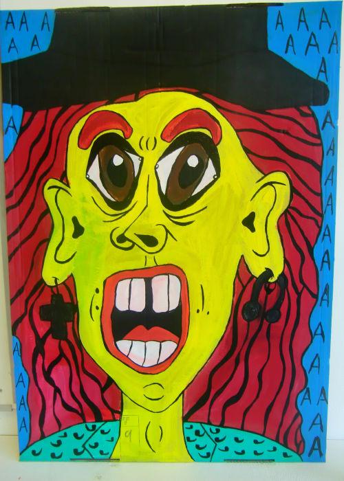 """Self-portrait in boxes"" , 2013   Posca marker on cardboard, 80 x 125 cm"