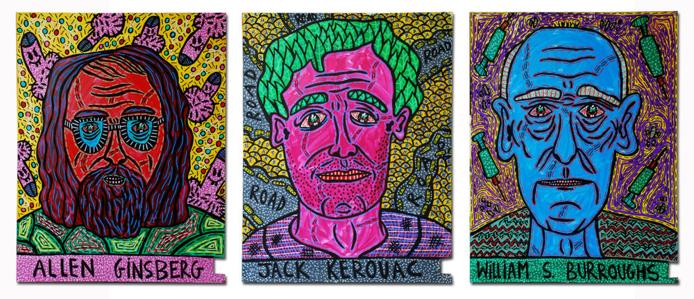 """Allen Ginsberg, Jack Kerouac and William S. Burroughs"" , 2014   Acrylic paint and Posca marker on wood, 60 x 75 cm"