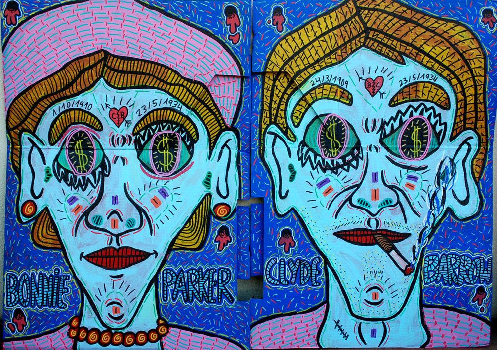 """""""Bonnie Parker""""  and  """"Clyde Barrow"""" , 2014   Acrylic paint and Posca marker on cardboard, 50 x 60 cm each"""