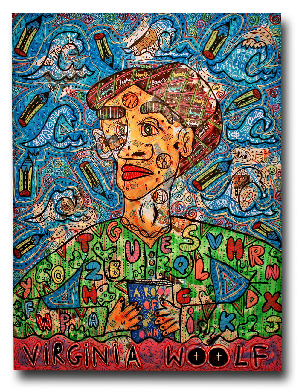 """Virginia Woolf"" , 2018   Acrylic paint and Posca marker on canvas, 180 x 200 cm"