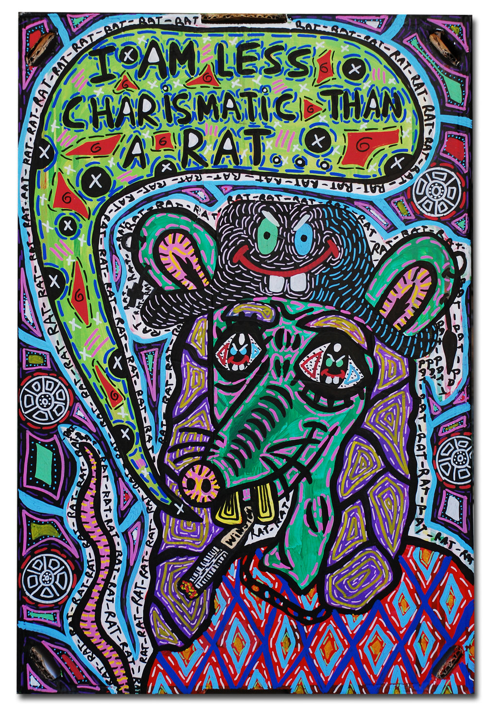 """I am less charismatic than a rat..."" , 2014   Acrylic paint and Posca marker on cardboard, 50 x 60 cm"