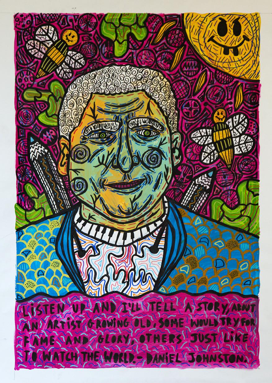 """Portrait of Daniel Johnston"" , 2017   Acrylic paint and Posca marker on linen, 90 x 120 cm"