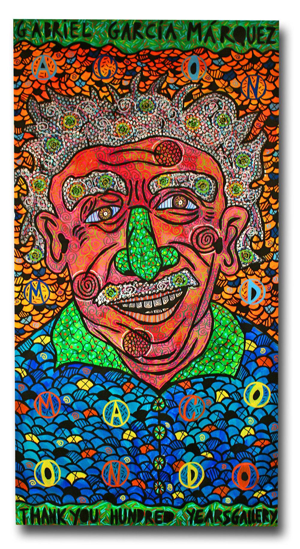 """""""Gabriel García Márquez"""" , 2017   Acrylic paint and Posca marker on linen, 60 x 179 cm"""