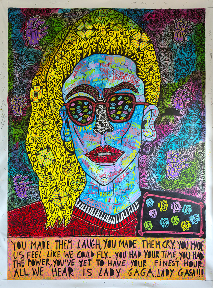 """Lady Gaga"" , 2016   Acrylic paint and Posca marker on linen, 190 x 260 cm"