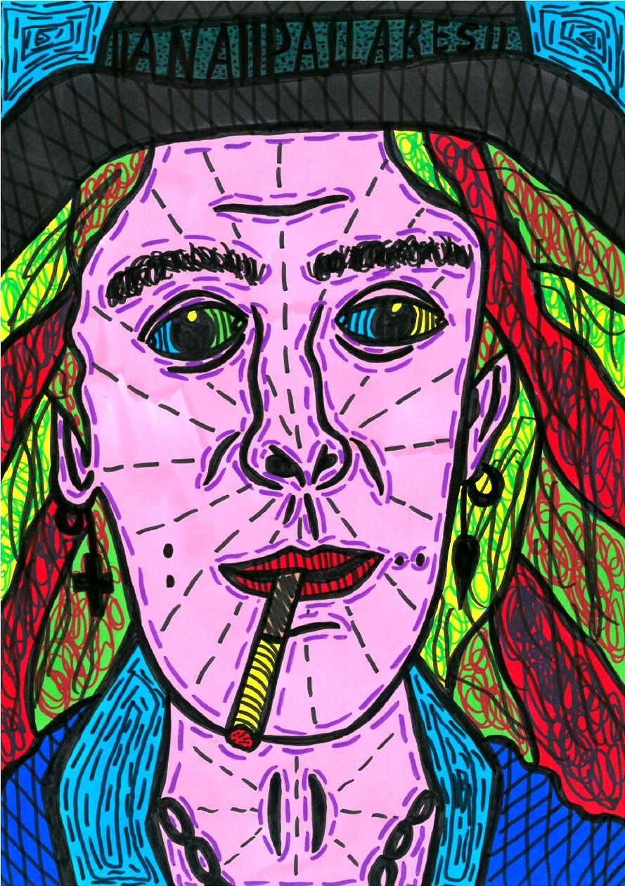 """Self-portrait"" , 2014   Marker on paper, 21 x 29.7 cm"