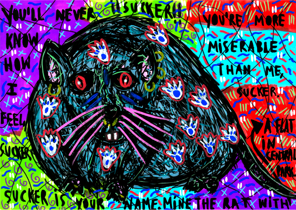 """The rat"" , 2014   Marker on paper, 29.7 x 21 cm Private Collection"