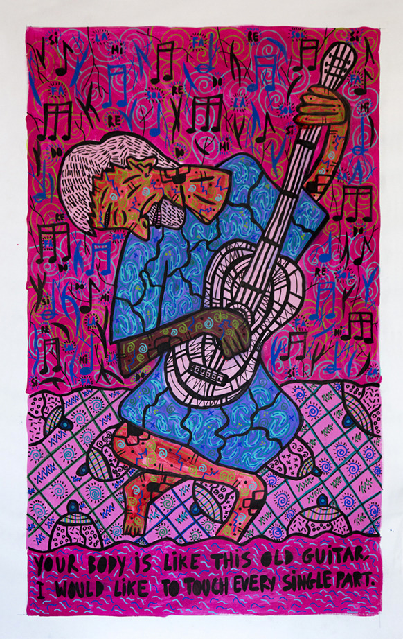 """Your body is like this old guitar, I would like to touch every single part"" , 2017   Acrylic paint and Posca marker on linen, 120 x 160 cm Private Collection"