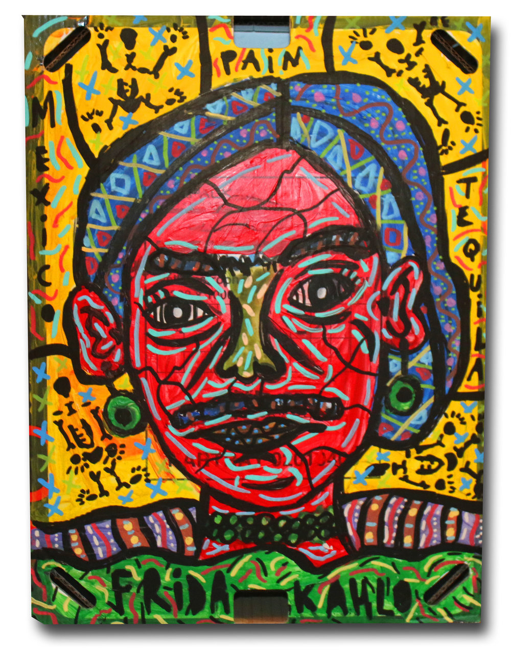 """Little Frida Kahlo"" , 2018   Acrylic paint and Posca marker on cardboard, 20 x 40 cm Private Collection"