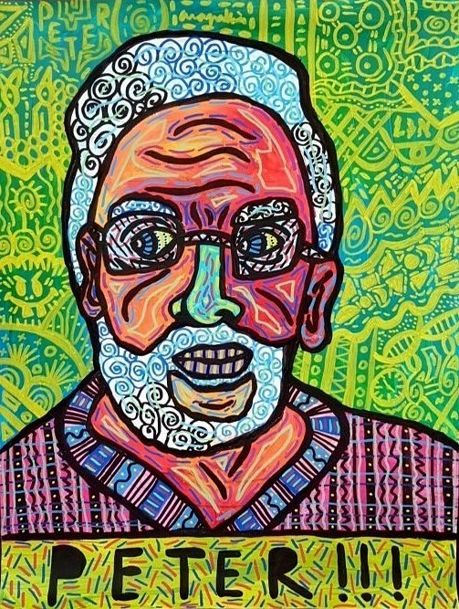 """Peter"" , 2016   Acrylic paint and Posca marker on wood, 120 x 140 cm Private Collection"