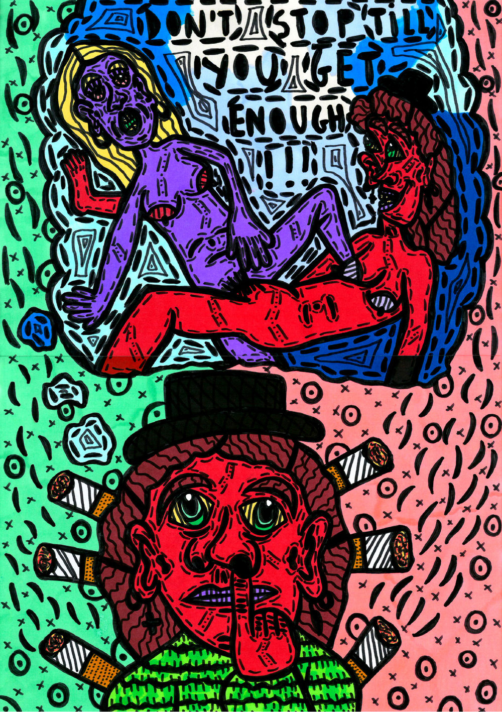 """Don't stop till you get enough!!"" , 2015   Marker on paper, 29.7 x 42 cm Private Collection"