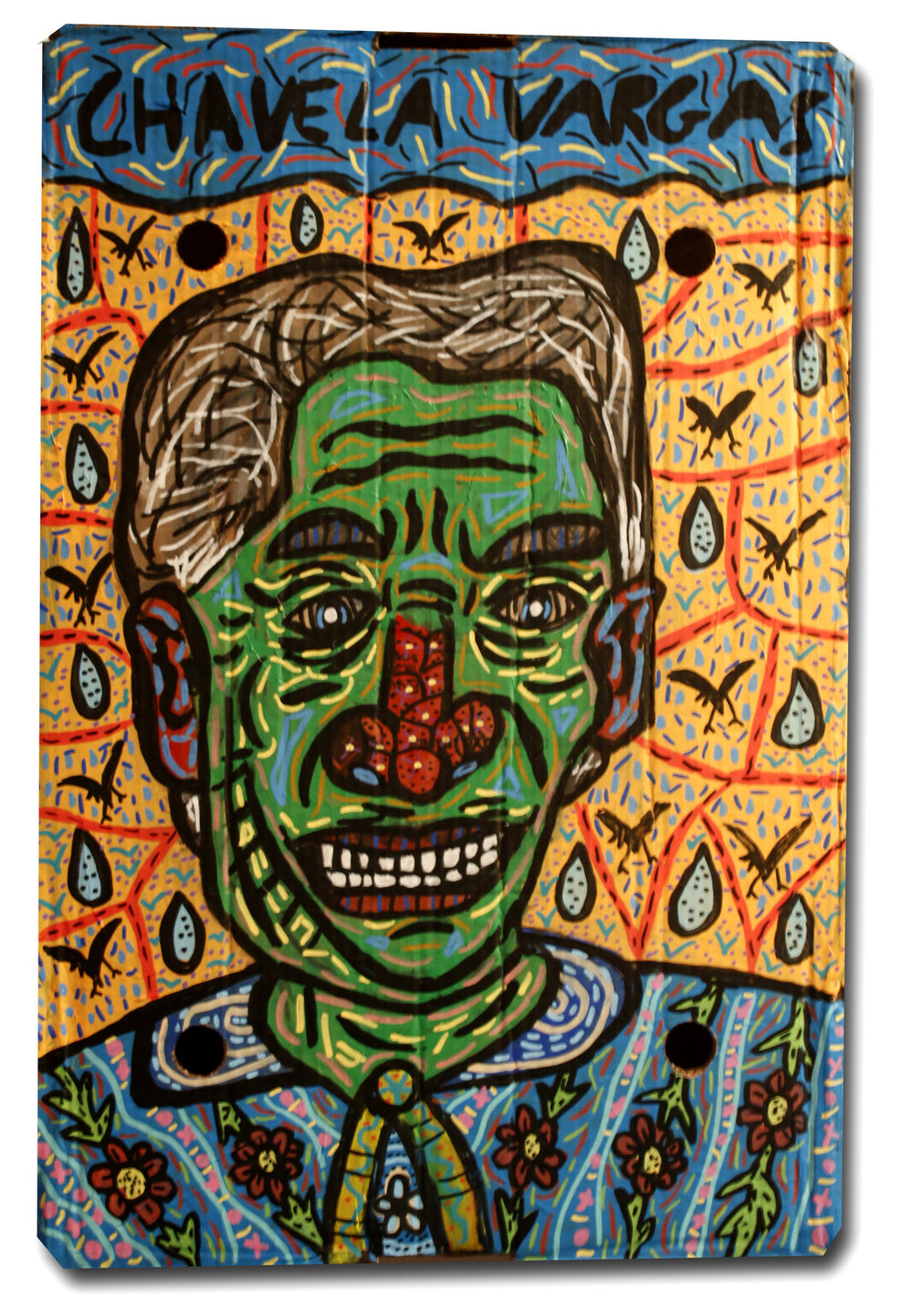 """Chavela Vargas"" , 2018   Acrylic and watercolour paint and Posca marker on cardboard, 30 x 70 cm Private Collection"