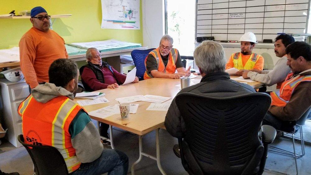 Don Galassi leads a safety meeting  Casa Dorinda, Santa Barbara, CA