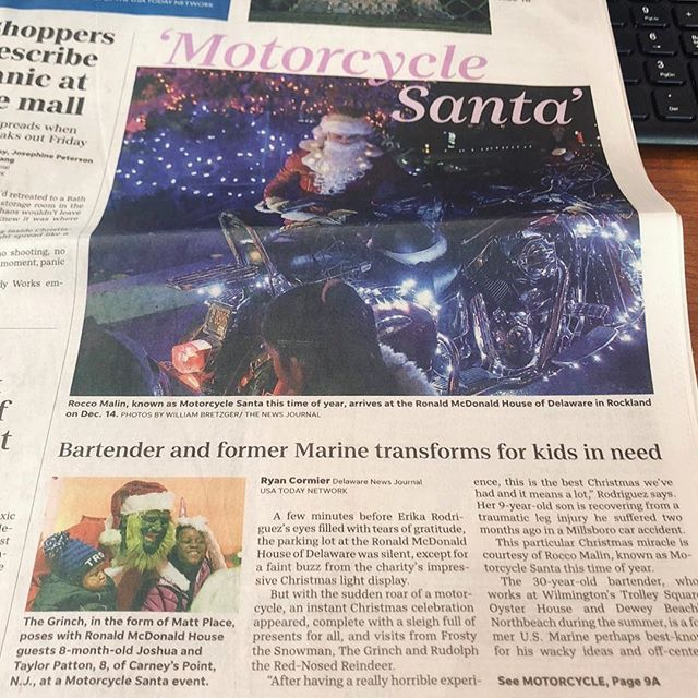 Check out today's paper for an article on some more insight on this year's events. @delawareonline @rmhdelaware @nemourschildrens  #motorcyclesanta #motorcycle #santa #happyholidays #charity #kawasaki #girlswholift #frontpage
