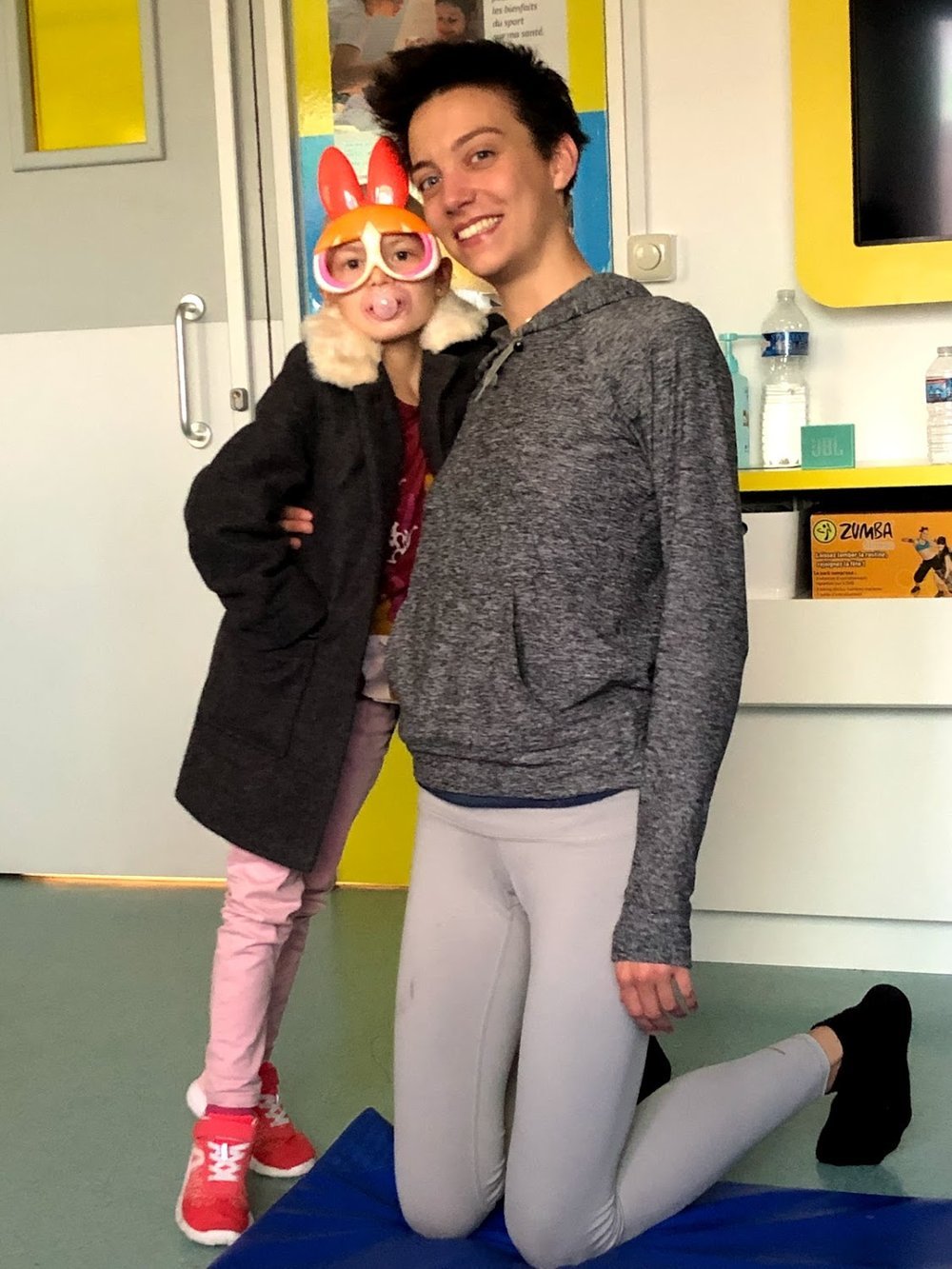 Lola and Charlotte at La Timone Children's Hospital in Marseille. Every Wednesday, we visited Lola and the other children to share meditation, visualization, and breathing practices. The enthusiasm of this little girl was edifying.
