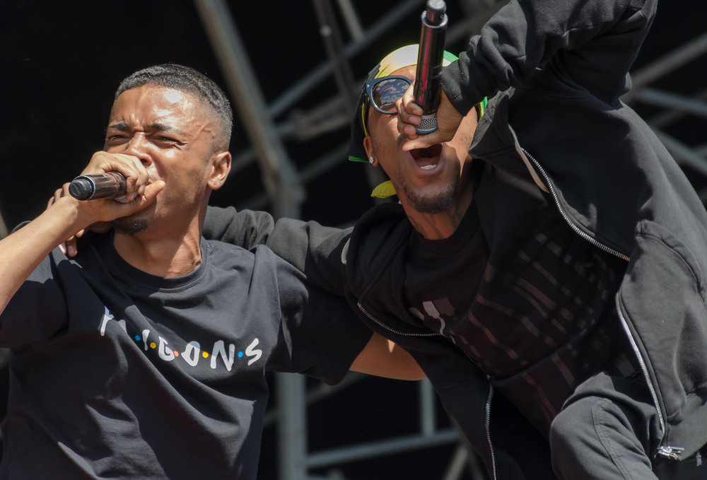 Rappers performing on stage at Field Day Festival in London