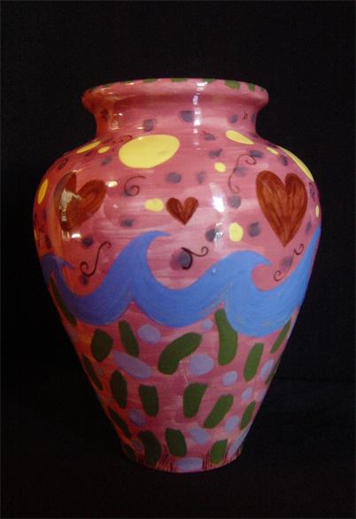 "Small Hearts Vase 8"" x 4"" diameter [Sold]"