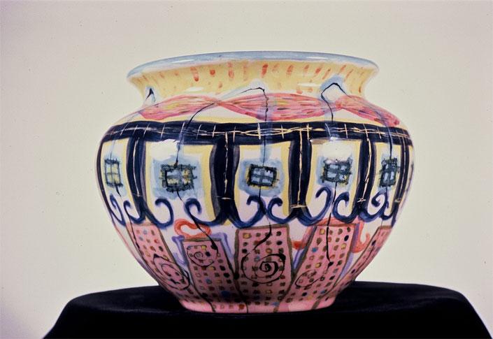 """Buildings Vase 6"""" x 8"""" diameter [Sold]"""