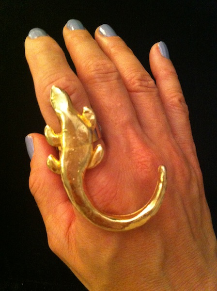 Gold Iguana Ring $90