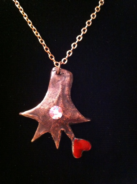 Iguana Hand with Heart Pendant (Oxidized Copper with Red Heart and Crystal)