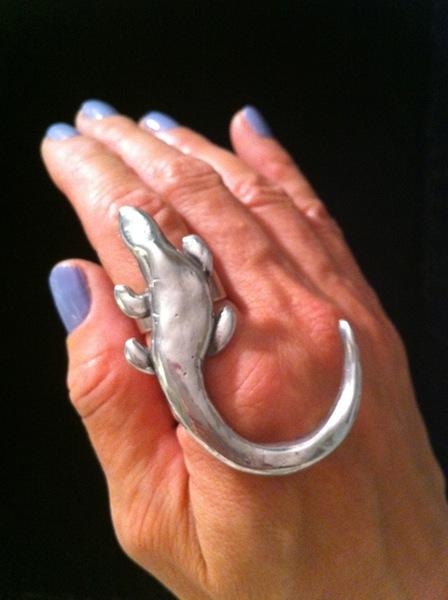 Silver Iguana Ring $90
