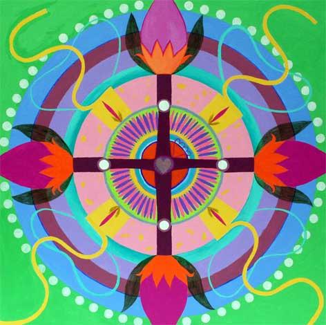 """Crossroads Mandala 30"""" x 30"""""""