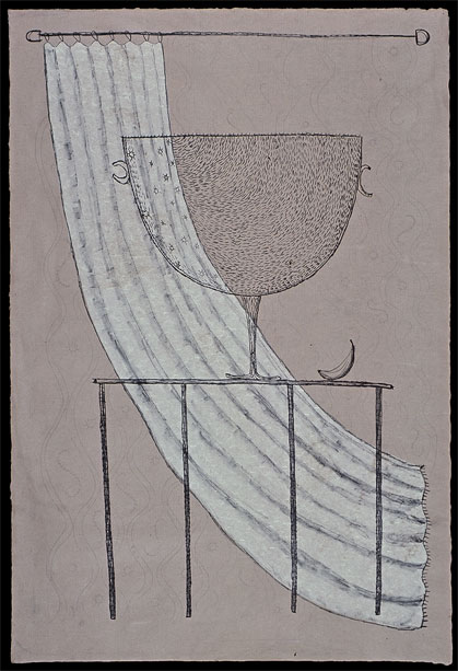 "Cup with Curtain and Fruit Lithograph 36"" x 24"""
