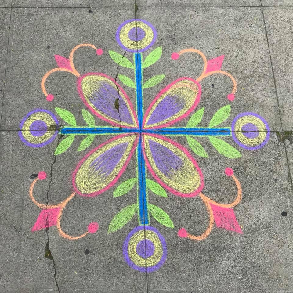 Day 99 Sidewalk Chalk Mandala
