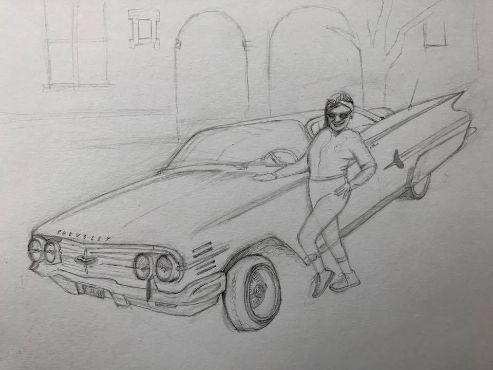 Day 105 Self-portrait with a low rider in pencil.
