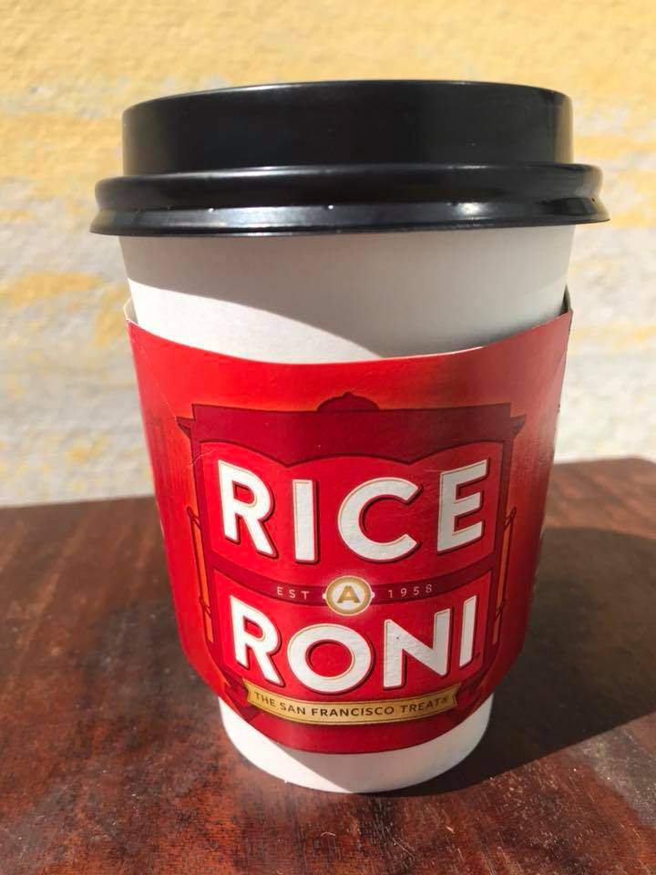 Day 129 Back in San Francisco. I made a coffee cup holder from a box of Rice a Roni, the San Francisco treat!