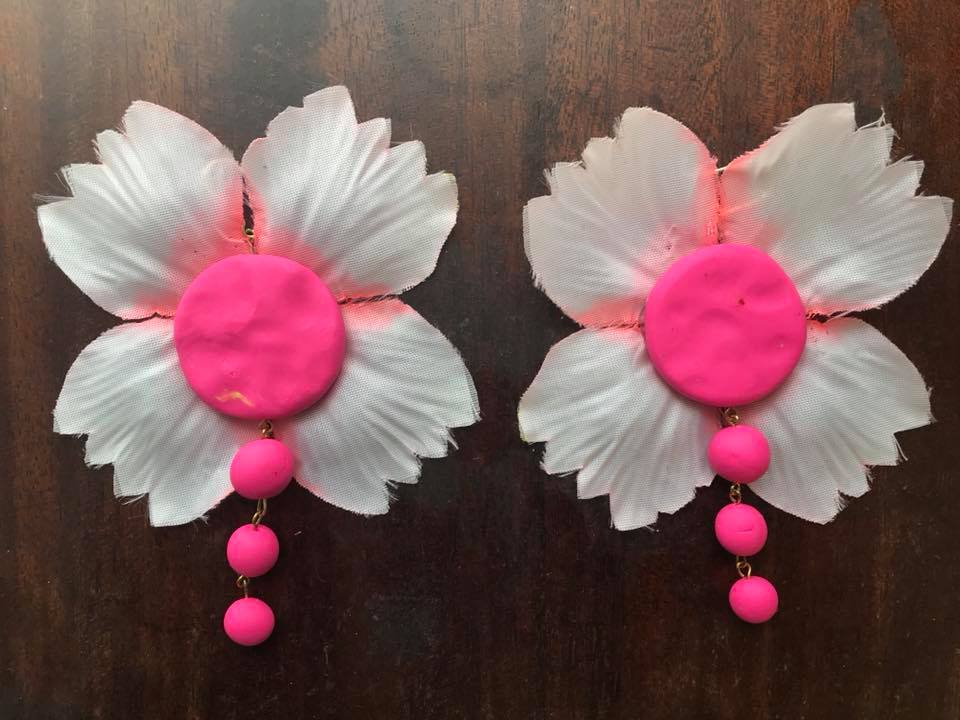 Day 136. Earrings made of Fimo and Flowers
