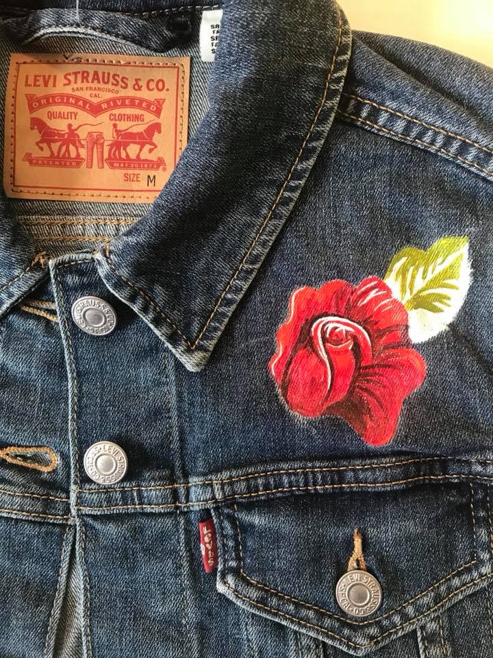 Day 169. Hand painted Jean Jacket in progress.