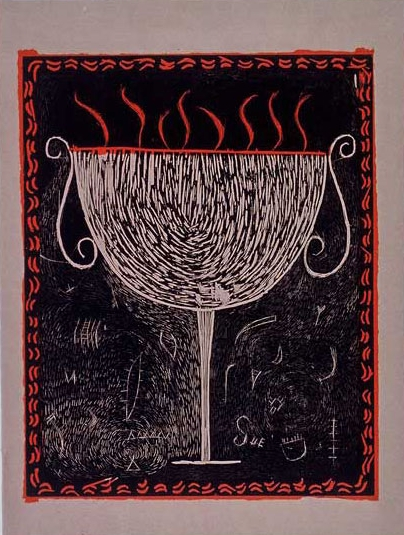 "Flaming Chalis Woodcut 20"" x 16"""