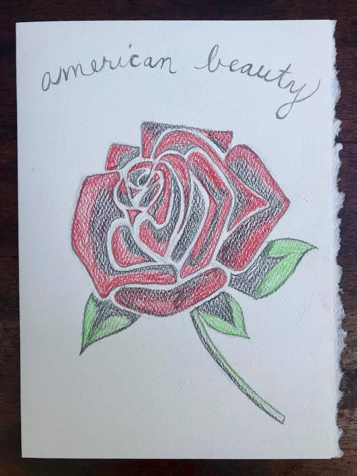 Day 218. Drew a rose while listening to American Beauty.