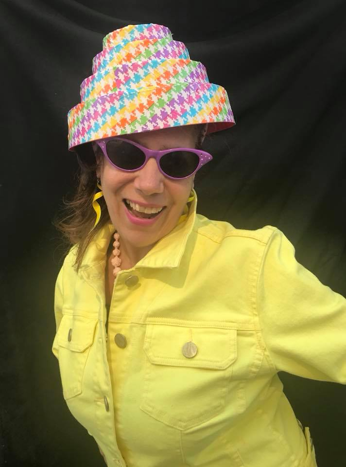 Day 219. Rainbow-Colored Houndstooth Ducktaped Devo Hat.