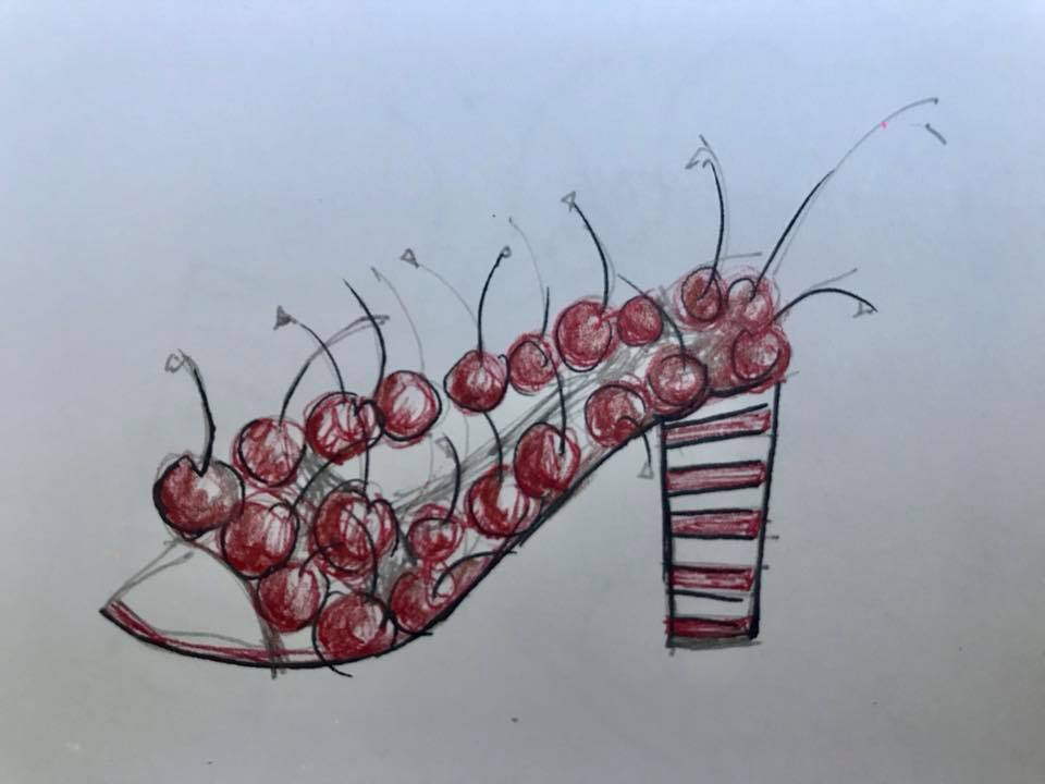 Day 245. Sketch for temporary shoes made with real cherries.
