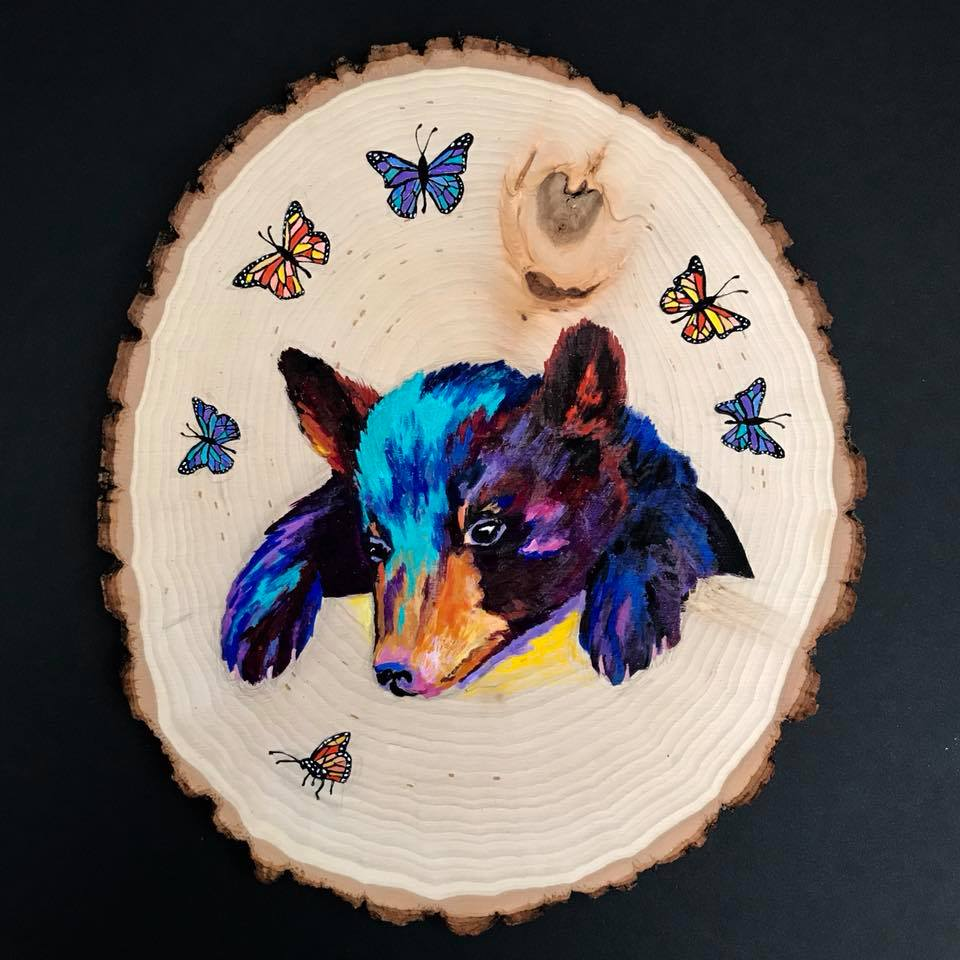 Day 270. Painted Bear and Butterflies on a cut Tree Stump