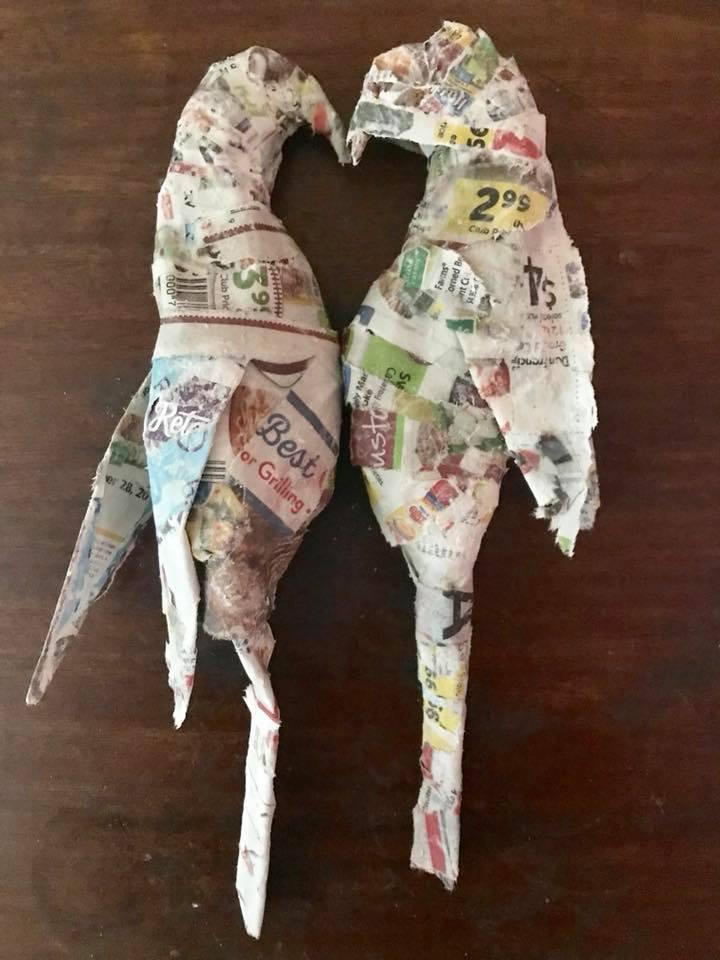 Day 271. Paper Mache Love Birds