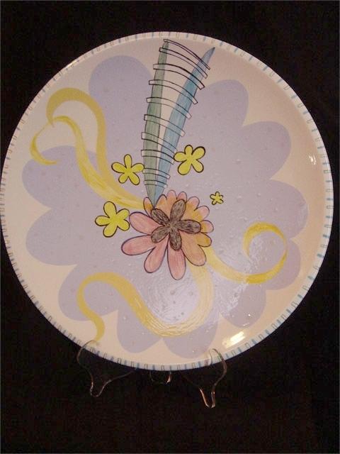 "Flower Power Dish 18"" diameter [Sold]"