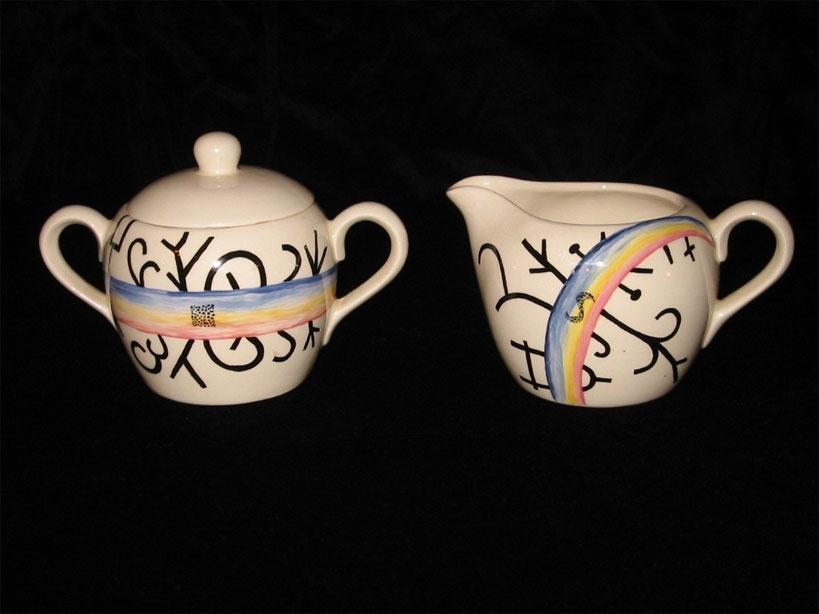 Rainbow Suger and Creamer