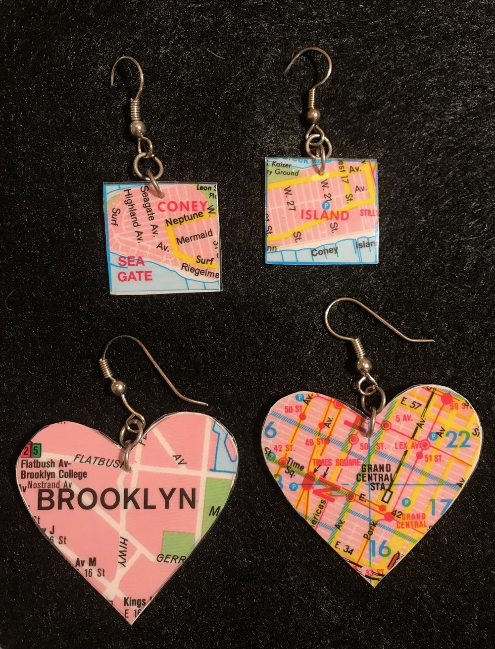 Day 294. Laminated Paper Earrings made from a New York City Map