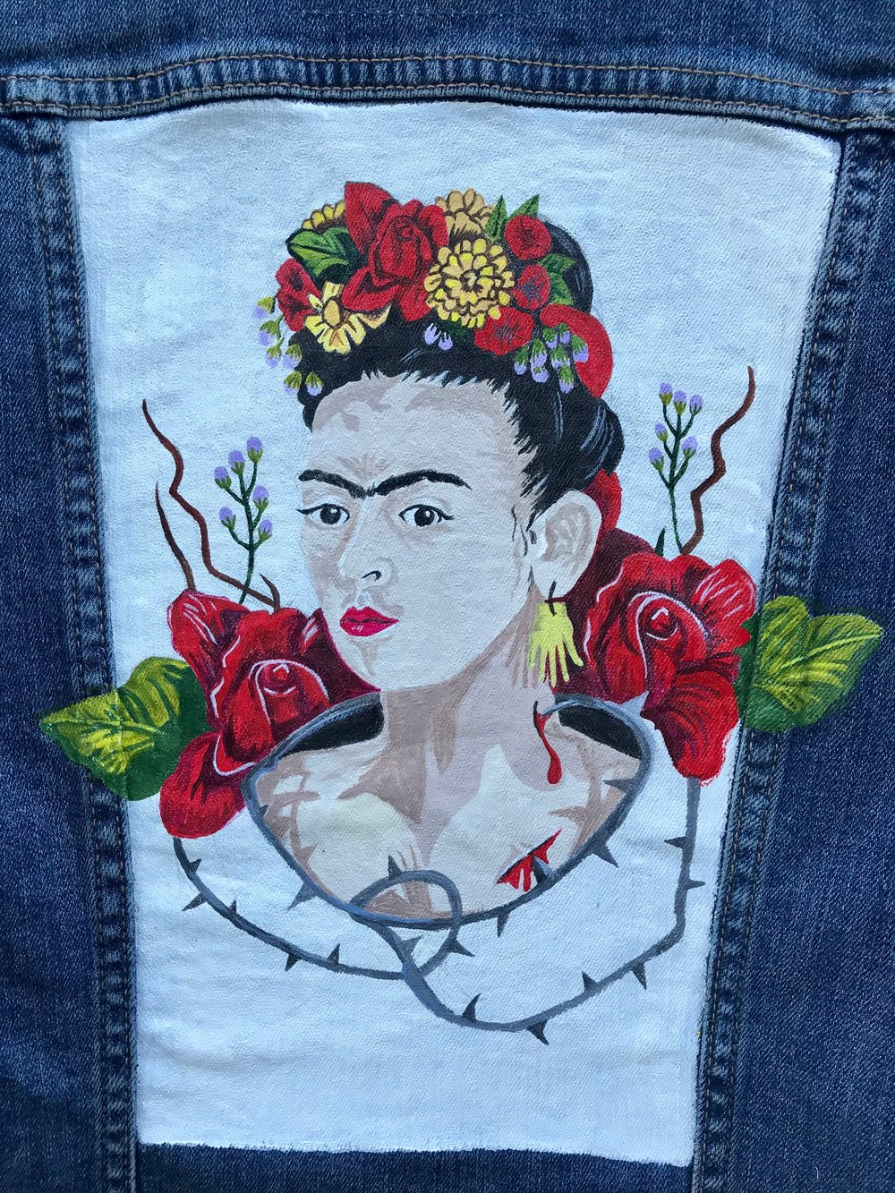 Day 296. Hand-Painted Frida Kahlo Jean Jacket