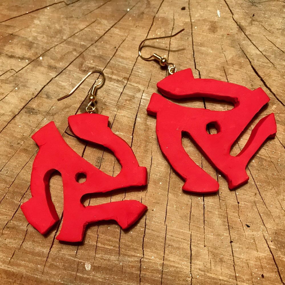 Day 323. 45 RPM adaptor earrings made out of Sculpey