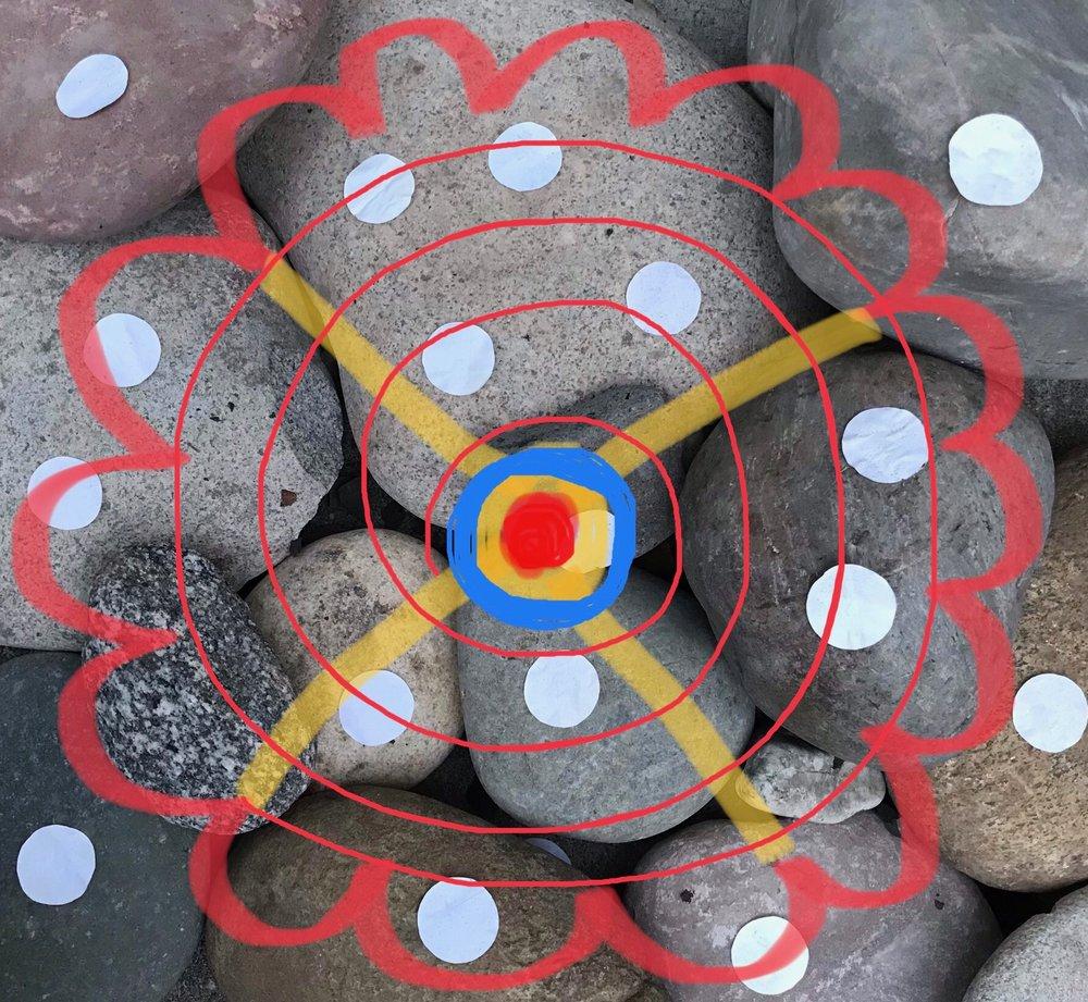 Day 337. Rock Collage with Polka Dots Mandala