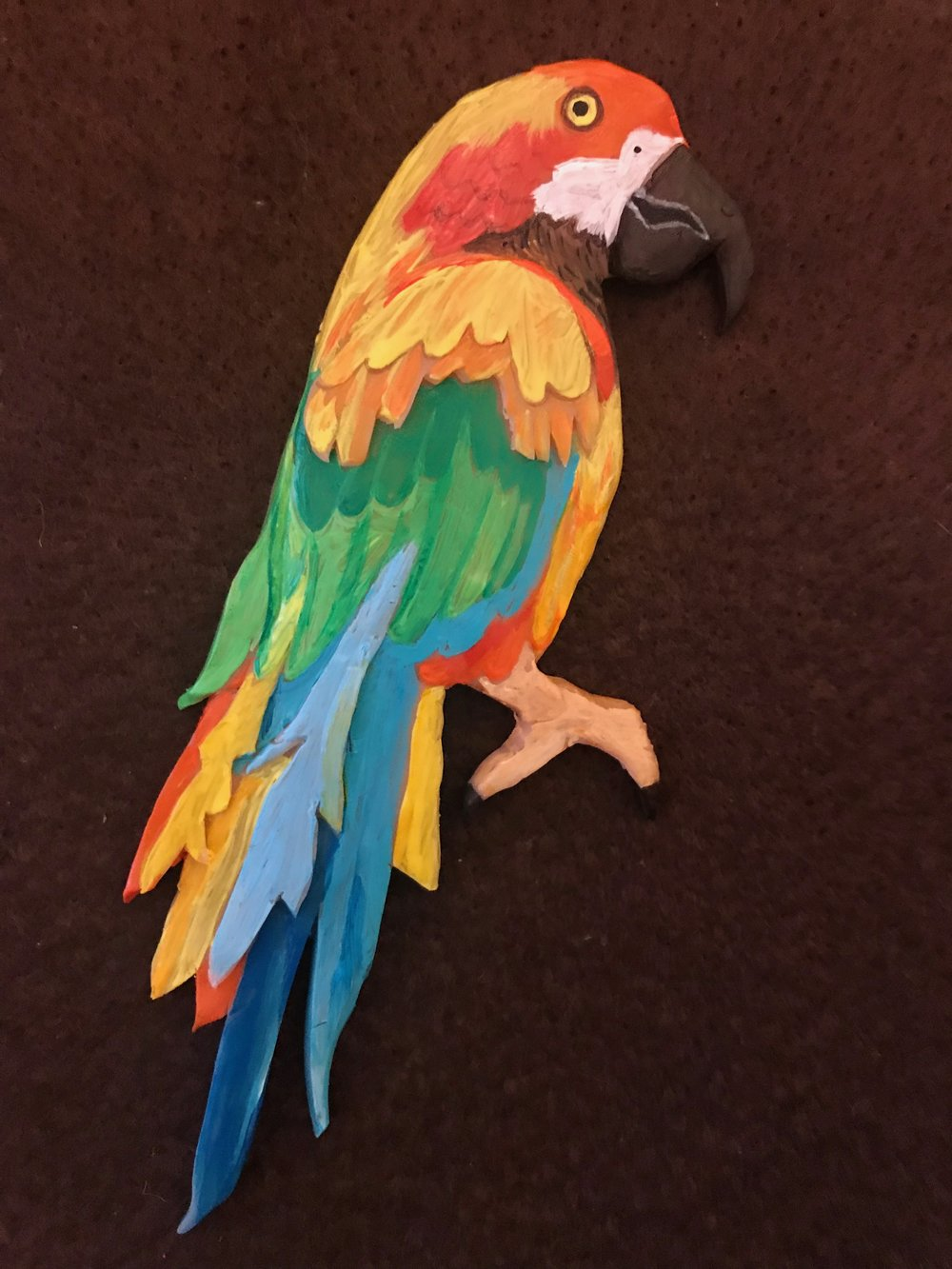 Day 344. Hand-Painted Sculpey Parrot Pin