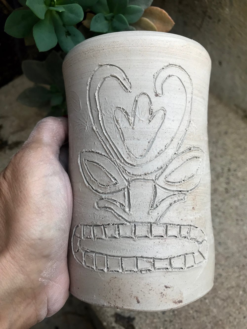 Day 353. Etched a Tiki Face into a piece of Pottery I threw