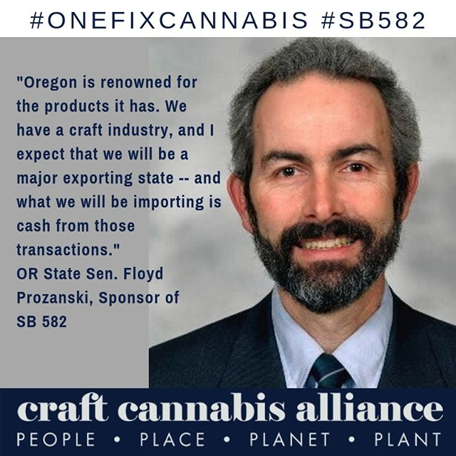 Thank you to Sen Floyd Prozanski for his tremendous leadership. #SB582 is a critical first step in opening Oregon's regulated cannabis market to export. #onefixcannabis #itsreallyhappening #craftcannabisalliance #onefix